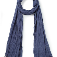 Dark Blue Plain Crinkle Scarf - Scarves - Austin Reed