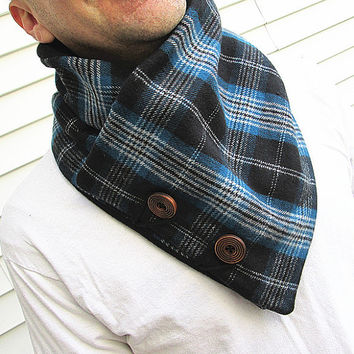 Men's cowl collar scarf- plaid scarf-Mens neck warmer-Men's scarf-fleece lined.