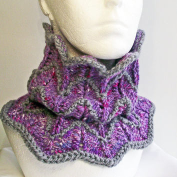 Purple Chevron Cowl, Handspun Purple Grey Neck Warmer, Artisan Art Yarn Knitted Buff, Designer Knit Purple Scarf, Lilac Grey Merino Snood