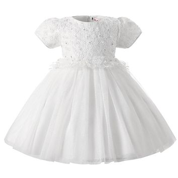 White Christening Formal Baby Girl dress Wedding Girls Kids Newborn 1 year Birthday Dresses tutu infant dress Girl Clothes