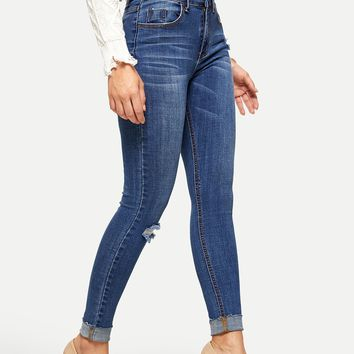 Rolled Knee Rips Jeggings