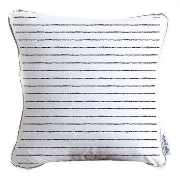 Striped Monochrome Brush Pattern Decorative Throw Pillow w/ Silver & White Reversible Sequins   COVER ONLY (Inserts Sold Separately)