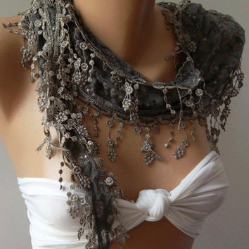 Grey / Elegance  Shawl /Scarf with Lacy Edge.