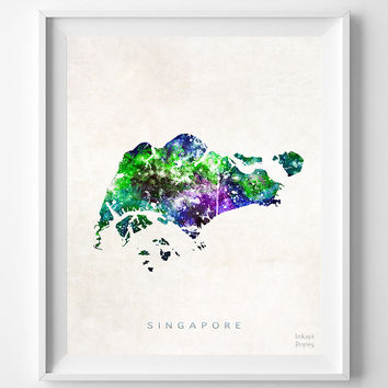 Singapore, Map, Asia, Print, Watercolor, Home Town, Poster, Country, Wall Decor, Painting, World, Living Room, Gift, Bed Room