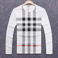 Burberry spring and autumn men's plaid classic round neck long-sleeved sweater White