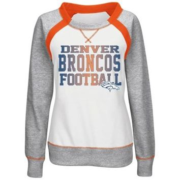 Denver Broncos Majestic Women's Counter IV Crew Fleece Sweatshirt - White/Gray