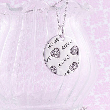 Love Circle Necklace with Tiny Hearts in Sterling Silver