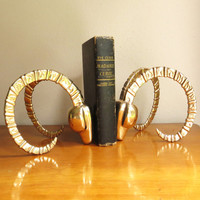 Vintage Brass Antelope Bookends, Hollywood Regency, Ram Bookends, Gazelle, Impala, Deer, Mid Century Bookends