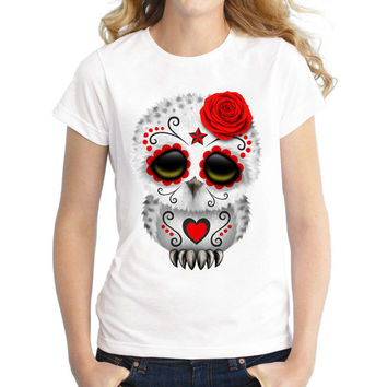 2017 Summer Fashion Women T-Shirts Cute Red Dead Sugar Skull Owl Printed T Shirts Casual Slim Top Feminine Short Sleeve Tee