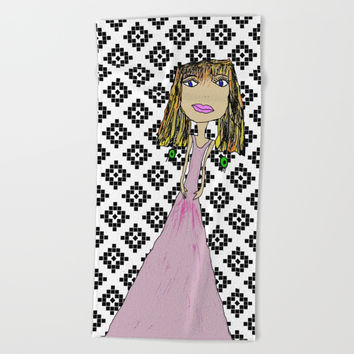 Pink Lady from Casablanca Beach Towel by Azima
