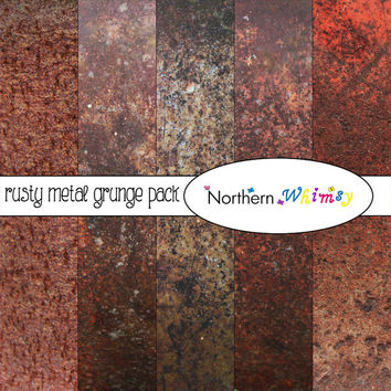 Grunge Digital Paper Pack – rusty metal photographic textures for art journals, cards, or masculine scrapbooking – instant download – CU OK