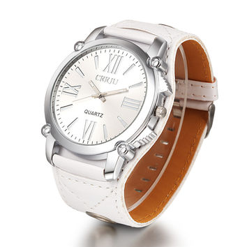 High Quality CRRJU Brand Leather Watch Women Fashion Dress Quartz