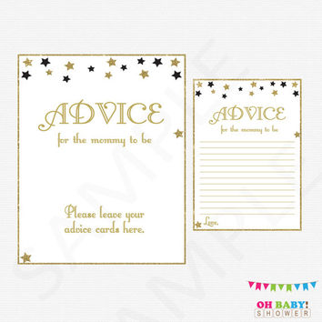 Twinkle Twinkle Little Star Baby Shower, Mom Advice Cards Advice for Parents Black Gold Baby Shower Glitter Stars Boy Girl Baby Shower STBLG