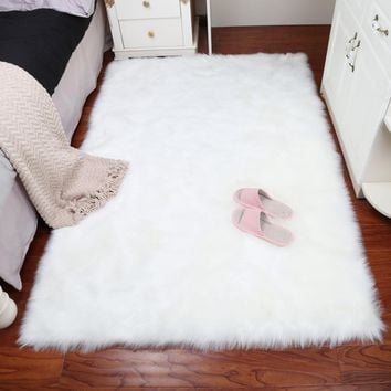 Rectangle Sheepskin Hairy Carpet Faux Mat Seat Pad Fur Plain Fluffy Soft Area Rug Home Decoration Area Rug Living Bedroom