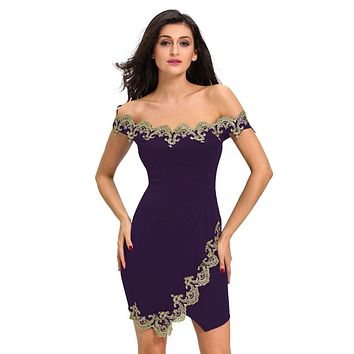 Sexy Women Lace Applique Off Shoulder Party Club Princess Mini Dress Tight Bodycon