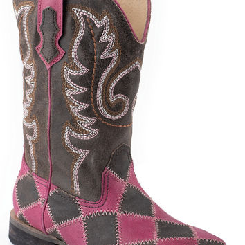 Roper Ladies Western Sq Toe Leather Fashion Boots Square Toe With Patchwork On Vamp