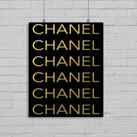 Chanel Art Print, Faux Gold Foil Art Print, Fashion Wall Art, Black and Gold, Instant Download