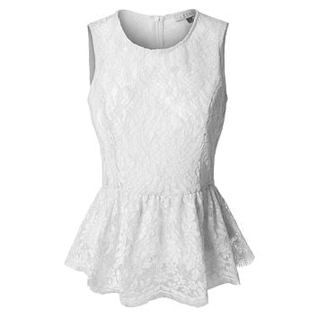 LE3NO Womens Fitted Floral Lace Round Neck Sleeveless Peplum Top