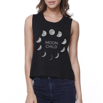 Moon Child Womens Black Crop Top