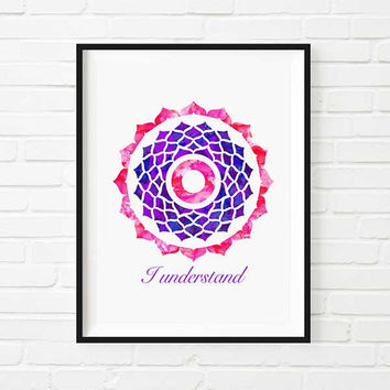 Yoga Art Charkras Reiki energy Crown Chakra Mandala Art watercolor Spiritual Healing Art Rainbow Sacred Geometry Meditation Art YOGA Lotus