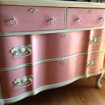 SOLD - Antique Dresser - Pink & Old White