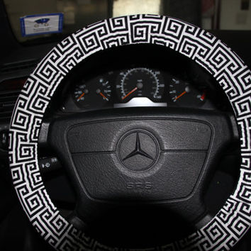 Black Towers Steering Wheel Cover . Black and White Wheel Cover .