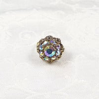 Vintage Aurora Borealis Rhinestone Adjustable Cocktail Statement Ring