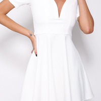 White Deep V-Neck Short Sleeve with Lace Accent Skater Dress