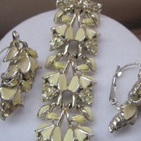 Vintage Marked CORO Yellow Enamel With Rhinestone Bracelet And Earring Set