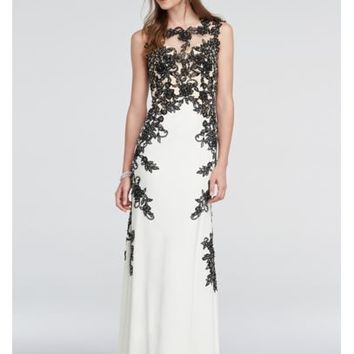 Lace Cap Sleeve Prom Dress with Illusion Detail - Davids Bridal