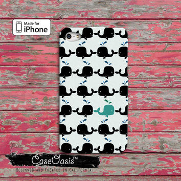 Whale Pattern Black and Blue Cute Fish Tumblr Inspired Cool Custom iPhone 4 and 4s Case and Custom iPhone 5 and 5s and 5c Case
