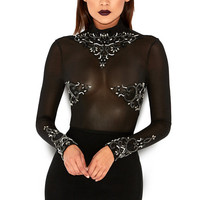Clothing : Bodysuits : 'Fairuza' Black Crsytal Hand Embellished Sheer Bodysuit