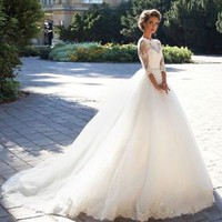 Half Sleeves White/Ivory Autumn Winter Wedding Dress Bridal Gown with Sash