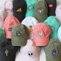 Baseball Hat with Embroidered Patch - Your Choice of Patch & Cap Color!