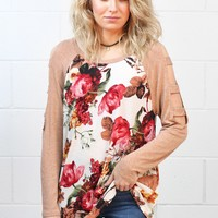 Cut Out Sleeves + Fresh Floral Top {Ivory Mix}