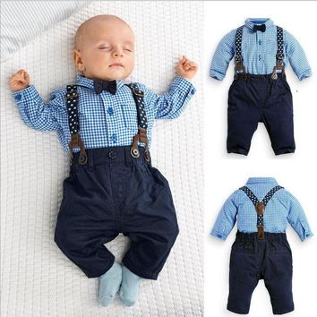 2PCS Kids Infant Baby Boys Plaid Shirt+Suspender Pants Overalls Clothes Outfits