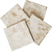 Cowhide Coasters Gold, Set of 4