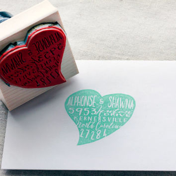 Heart Shaped address stamp, RSVP stamp, Custom return address stamp, Wedding Stamps, Typography Stamp, Personalized address stamp, hearts