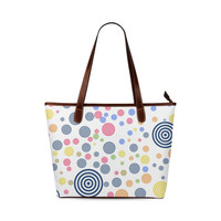 retro circles Shoulder Tote Bag (Model 1646) | ID: D2698171