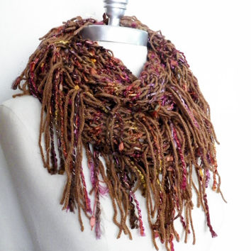 Autumn Color Fringe Infinity Scarf, Sparkly Knit Scarf, Loop Scarf, Mobius Scarf, Fashion Knitwear, Dark Brown Fall and Winter Essentials,