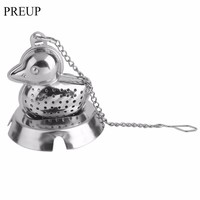 2017 Creative Cute Duck Shape Stainless Steel Leaf Tea Infuser Filter Strainer Ball Spoon Drinkware Tool Tea Maker With Tray
