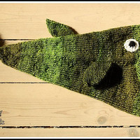 Funny fish hat for kids - hand knitted - green