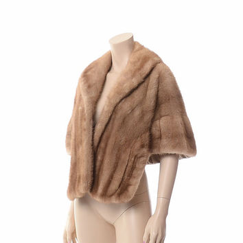 Vintage 50s 60s Autumn Haze Mink Stole 1950s 1960s Switzers Fur Capelet Opera Wrap Natural Brown Jacket Cape Coat
