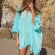 Happylife12 Womens Hollow Out V-neck Bikini Cover Up Dress