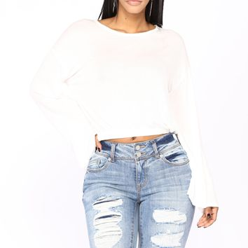Cooler Than Ever Bell Sleeve Top - White