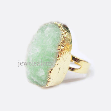 Mint Green Druzy Ring Gold Geode Gem Stone Gemstone Drusy Mineral Rustic Statement Sparkle Shimmer Crystal Raw Quartz Agate