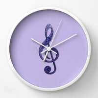 Treble Clef Wall Clock in violet and lavender