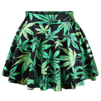 Womens Sexy Marijuana Weed Party Club Dress Mini Skirt