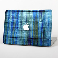 The Grungy Dark Blue Washed Wood Skin Set for the Apple MacBook Laptop (Most Versions Available - Choose Coverage)
