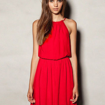 Red Halter Sleeveless Blouson Pleated Dress